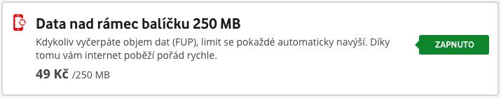 Vodafone Samoobsluha ukazuje, jestli je služba Data nad rámec balíčku aktivní, ale neumožňuje deaktivaci. To si musíte zavolat.